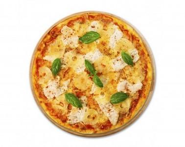 Пицца Курица с ананасами (тонкое тесто)